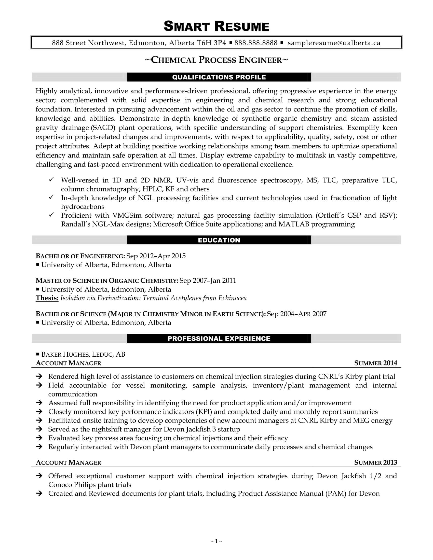 Chemical Engineering Covering Letter Sample Voluntary Action Orkney  Chemical Engineer Resume Example