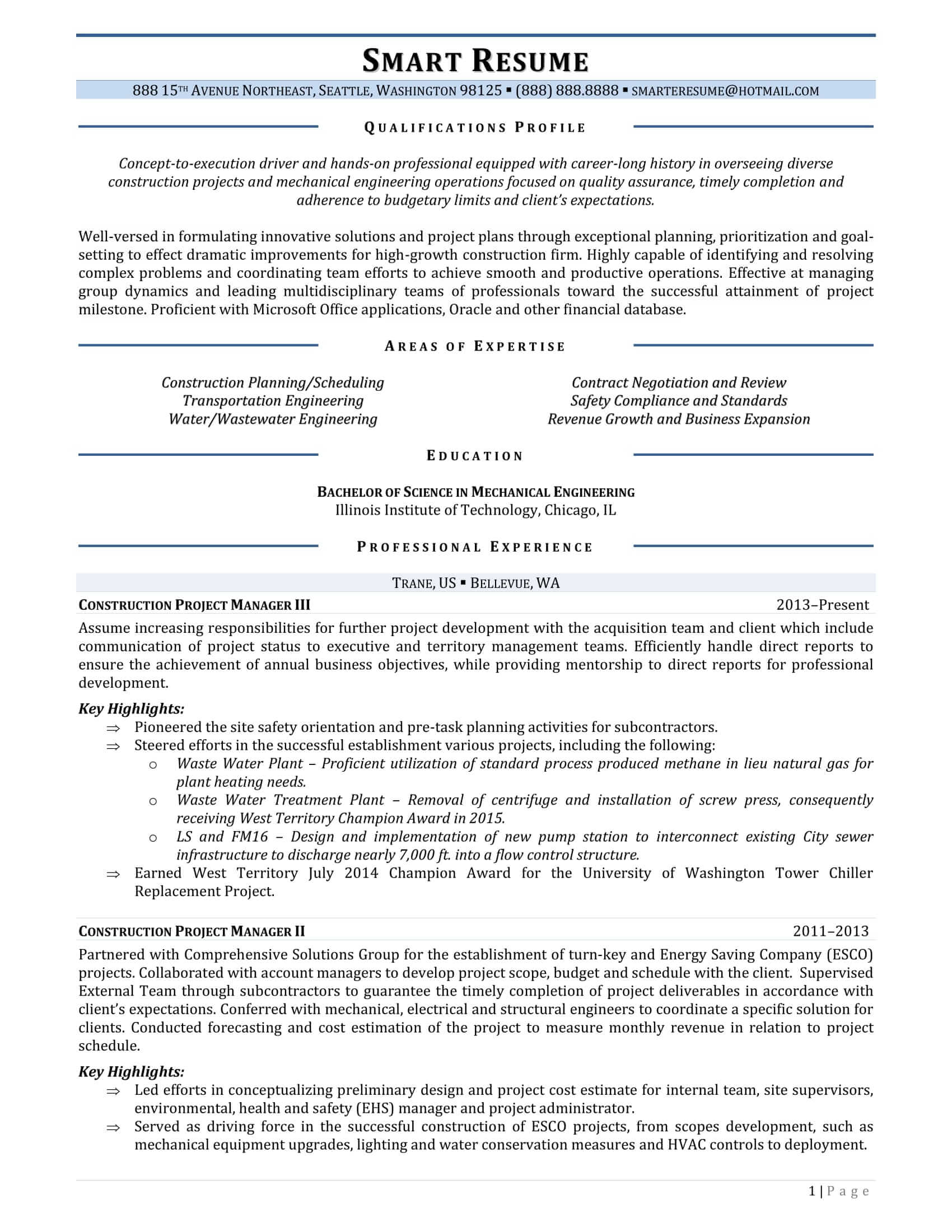 sample construction resume samples smartresume construction project manager resume sample