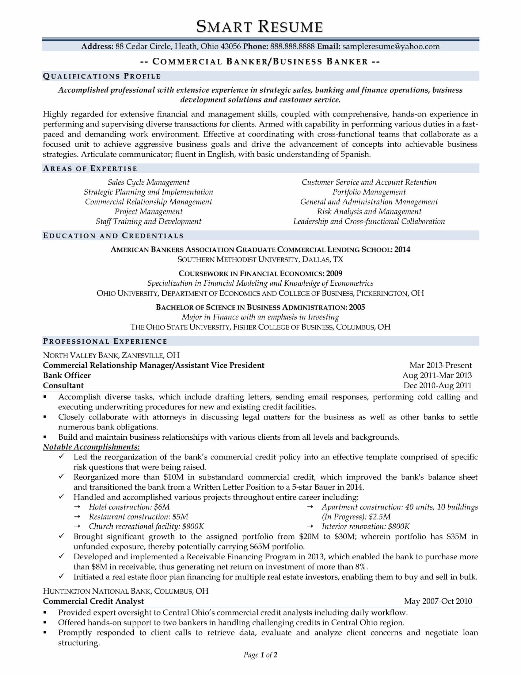 banker resume sample. Resume Example. Resume CV Cover Letter