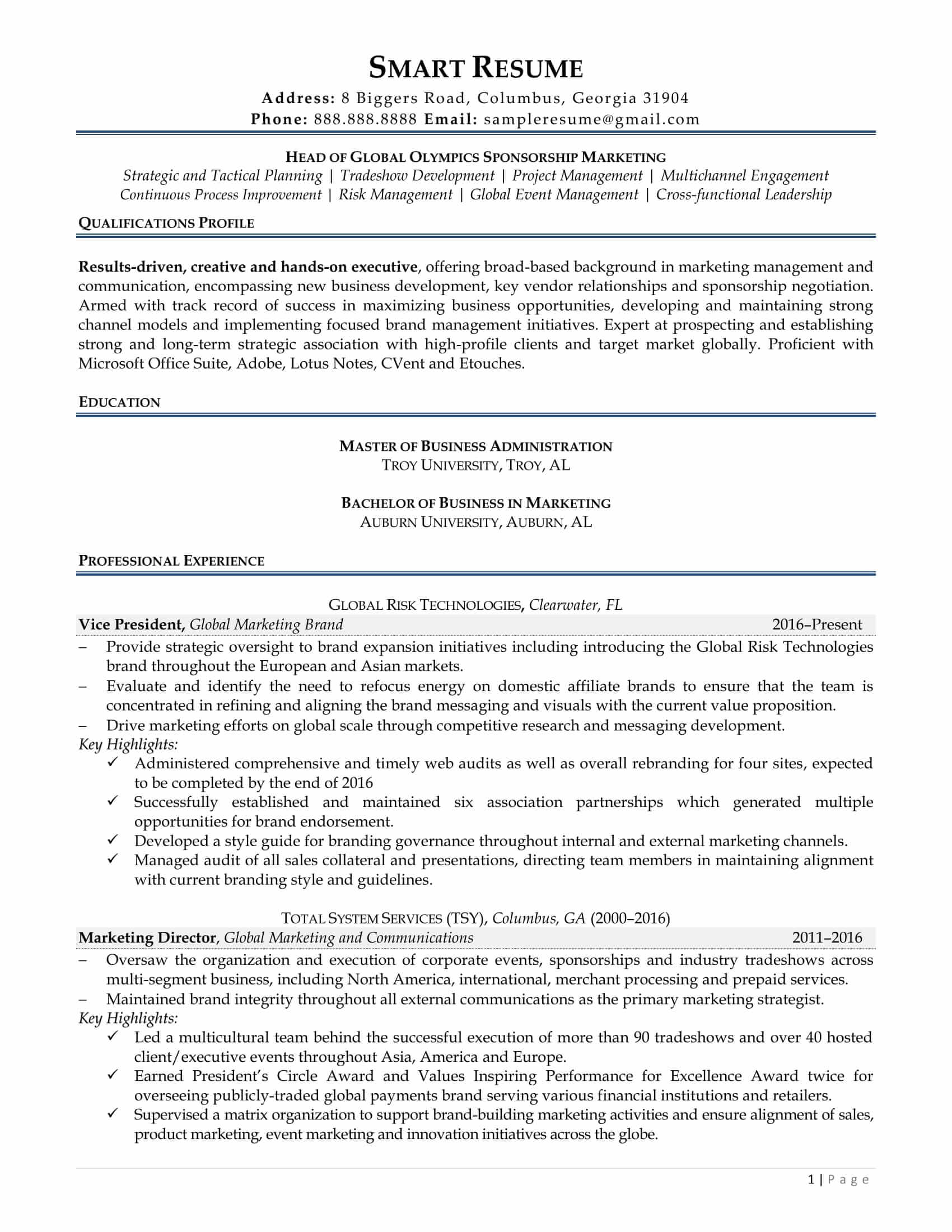 Sponsorship Manager Resume - twnctry
