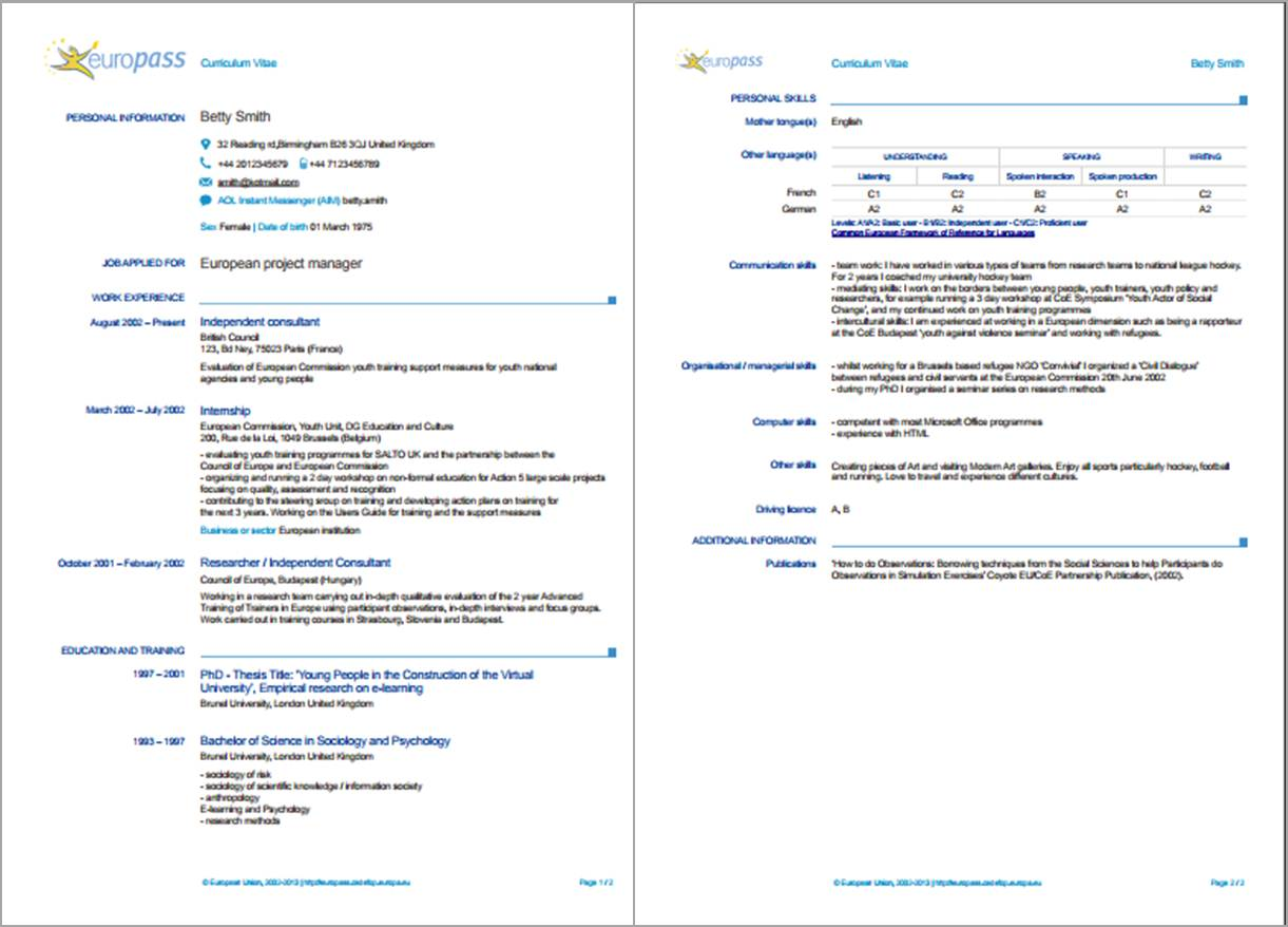 Sample of Europass CV Template from Europass