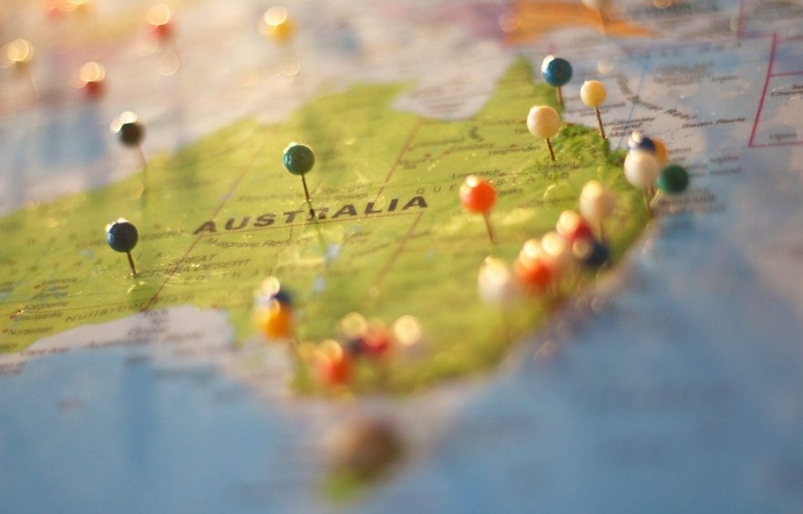 jobs in Australia for foreigners - pinned Australia map